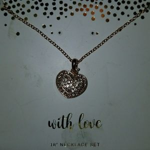 New Rose gold heart diamond necklace